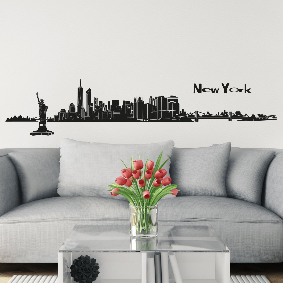Wandkings Skyline wall sticker wall decal - 48.8 x 7.9 inch in black - Your city selectable - NEW YORK