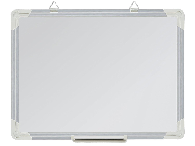 Pizarra blanca magnética con bandeja para bolígrafos y borde de aluminio, color blanco 40 x 30 cm