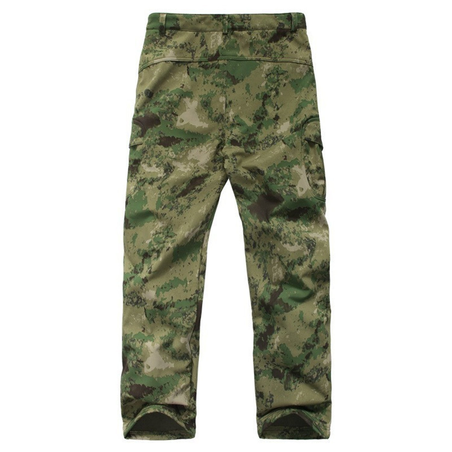 Toping Fine Pants Shark Skin Waterproof Windproof Camouflage Pants Men Fleece Trousers Military Army Pant Green CamouflageXX-Large