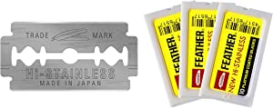 Feather Double Edge Safety Razor Blades - (30 Count) - Platinum Coated Hi-Stainless Steel Razor Blades - Fits Most Safety Razors - Super Sharp for Close Shaves - Japanese Quality
