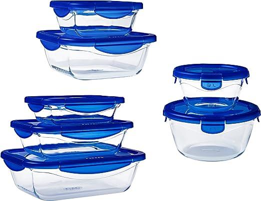 Pyrex Cook&Go Set de 7 Recipientes con Tapa 100% Hermética, Azul ...