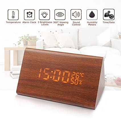 Genial Wellish Wooden LED Digital Desk Tabletop Bedside Alarm Clock With  Temperature And Humidity 3 Brightness Adjustable