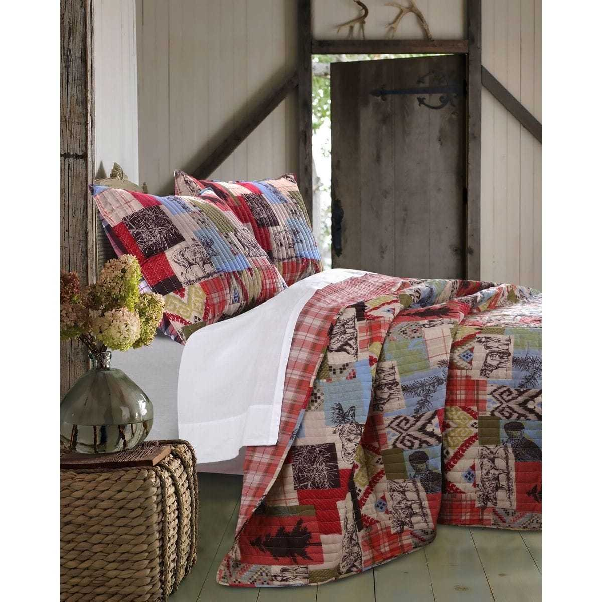 PH 3 Piece Multi Orange Nature Plaid Nature Full Queen Quilt Set, Light Blue Ivory Red Green Moose Bears Pine Trees Primitive Art Reversible Adults Bedding Master Bedroom Vintage Western, Polyester