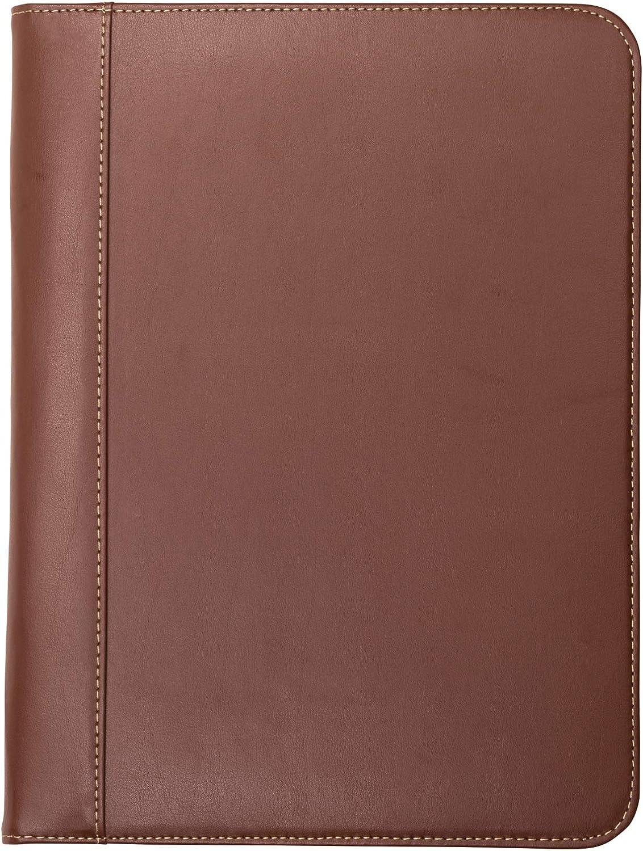 Samsill 71716 Contrast Stitch Leather Padfolio – Lightweight & Stylish Business Portfolio for Men & Women – Resume Portfolio, 8.5 x 11 Writing Pad, Tan/Brown