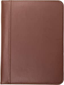 Samsill 71716 Contrast Stitch Leather Padfolio – Lightweight & Stylish Business Portfolio for Men & Women – Resume Portfolio, 8.5 x 11 Writing Pad, Tan/Brown