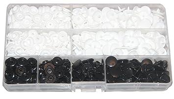 150 juegos de cajas de almacenamiento KAM Snaps blanco y negro tamaño 20 T5 cierres Punch