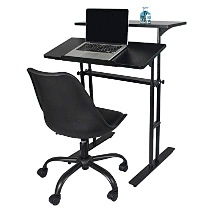 Sensational Yuiky Office Desk Chair Set Adjustable Wood Stand Desk And Rolling Chair Modern Design For Kids Adults Black Set Short Links Chair Design For Home Short Linksinfo