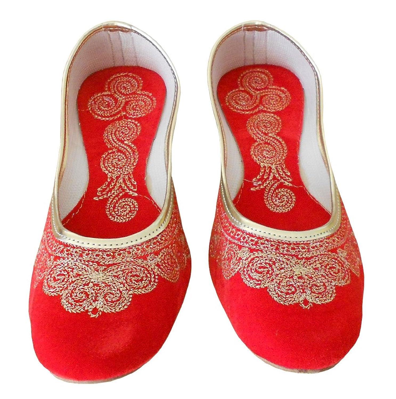 kalra Creations Mujer Tradicional Étnico–Zapatos de piel, color Marrón, talla 42 EU M