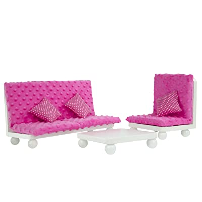 Olivia's Little World - Princess Living Room Lounge Set with Pink Cushion | Wooden 18 inch Doll Furniture: Toys & Games