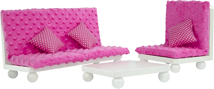 Olivia's Little World - Princess Living Room Lounge Set with Pink Cushion | Wooden 18 inch Doll Furniture