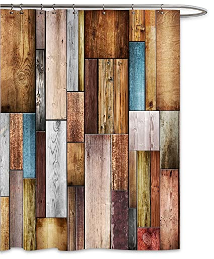 FOOG Colorful Wood Panels Shower Curtain By Fence Texture Barn Door Home Bathroom Decoration Polyster Fabric