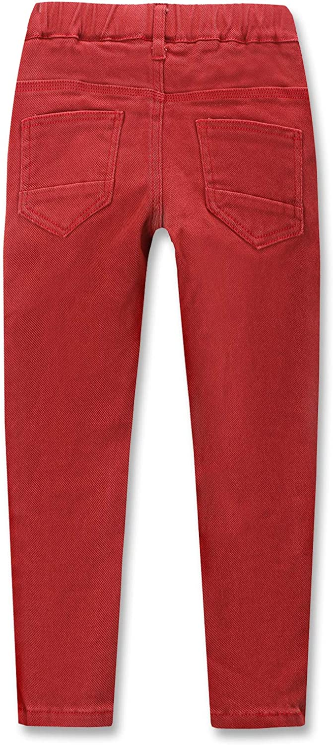 CUNYI Boys Pull-On Cotton Pants Slim Fit Skinny Pants with Elastic Waistband