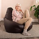 Hi-BagZ® Puff Pera - puf asiento de polipiel, hecho de imitación al cuero (COLOR MARRÓN - puf grande)
