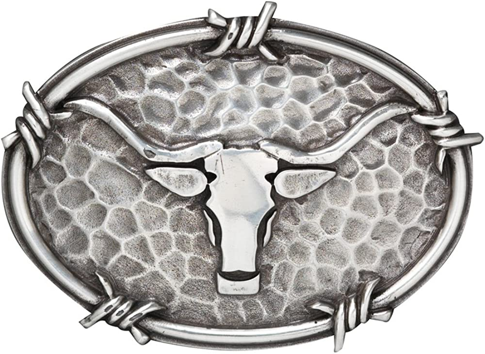 Ariat Steer Head and Barbed Wire Edging Oval Belt Buckle