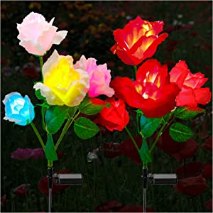 TONULAX Solar Garden Lights - Newest Version Solar Lights Outdoor, 7 Color Changing Rose Lights for Yard,Garden Decoration, Enlarged Solar Panel, More Realistic Rose Flower (2 Pack, Red and White)