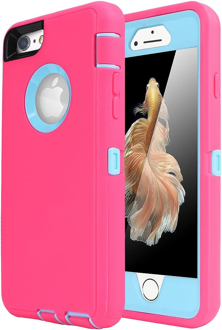 iPhone 6 Case, iPhone 6S Case [Heavy Duty] AICase Built-in Screen Protector Tough 3 in 1 Rugged Shorkproof Cover for Apple iPhone 6/6S (Light Blue/Pink)