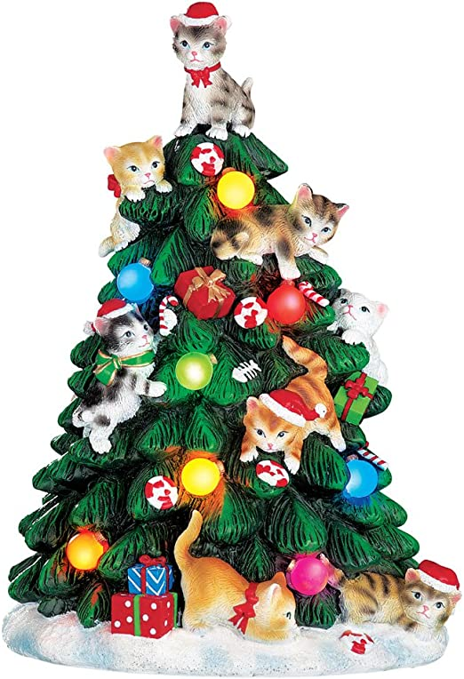 Cambio de color iluminado gato árbol de Navidad figura decorativa ...