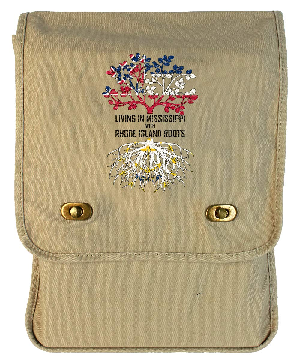 Tenacitee Living In Mississippi with Rhode Island Roots Grey Brushed Canvas Messenger Bag