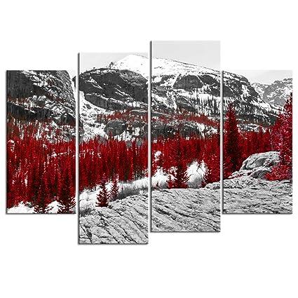 amazon com sechars canvas print wall art nature red fall forest rh amazon com