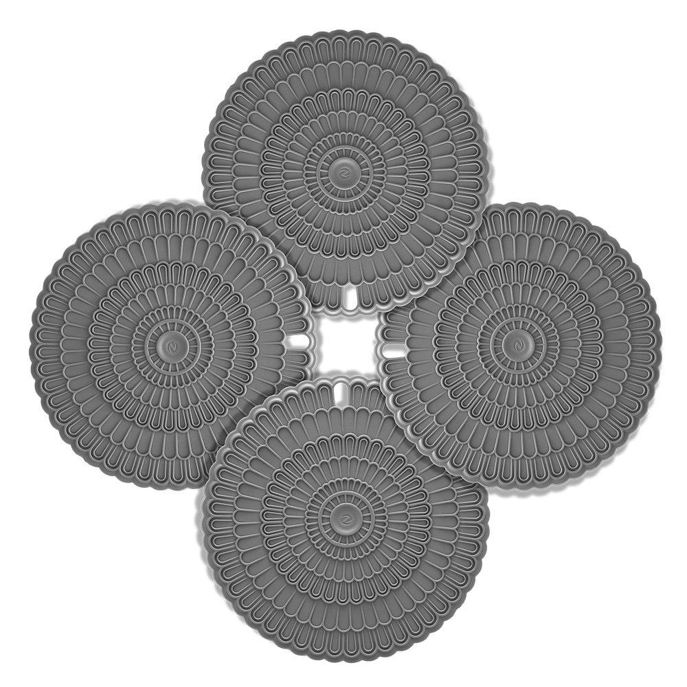 Zanmini 花柄型押し 20cm 円形鍋敷き