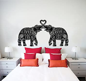 Wall Decals Indian Elephant Floral Patterns Mandala Tribal Love - Elephant wall decal