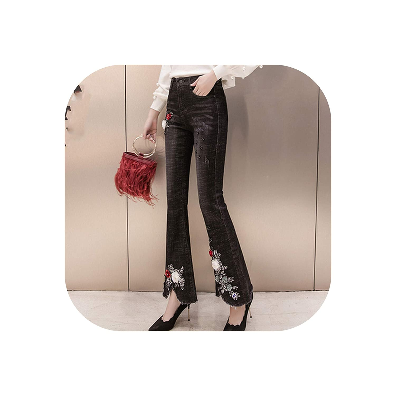 8842 Old street Pants Capris Flare Pants Pencil Floral Sexy Female Outdoor Trousers Patchwork Ladies Jeans