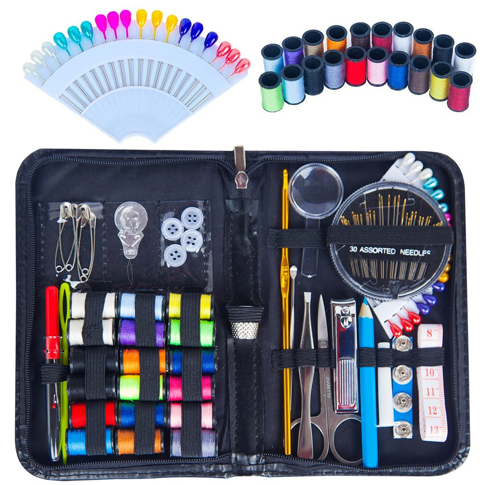 Chenkoo Compact Emergency Sewing Kit with Sewing Supplies, Extra 20 Spools of Thread and 18 Pins - Black 4336936255