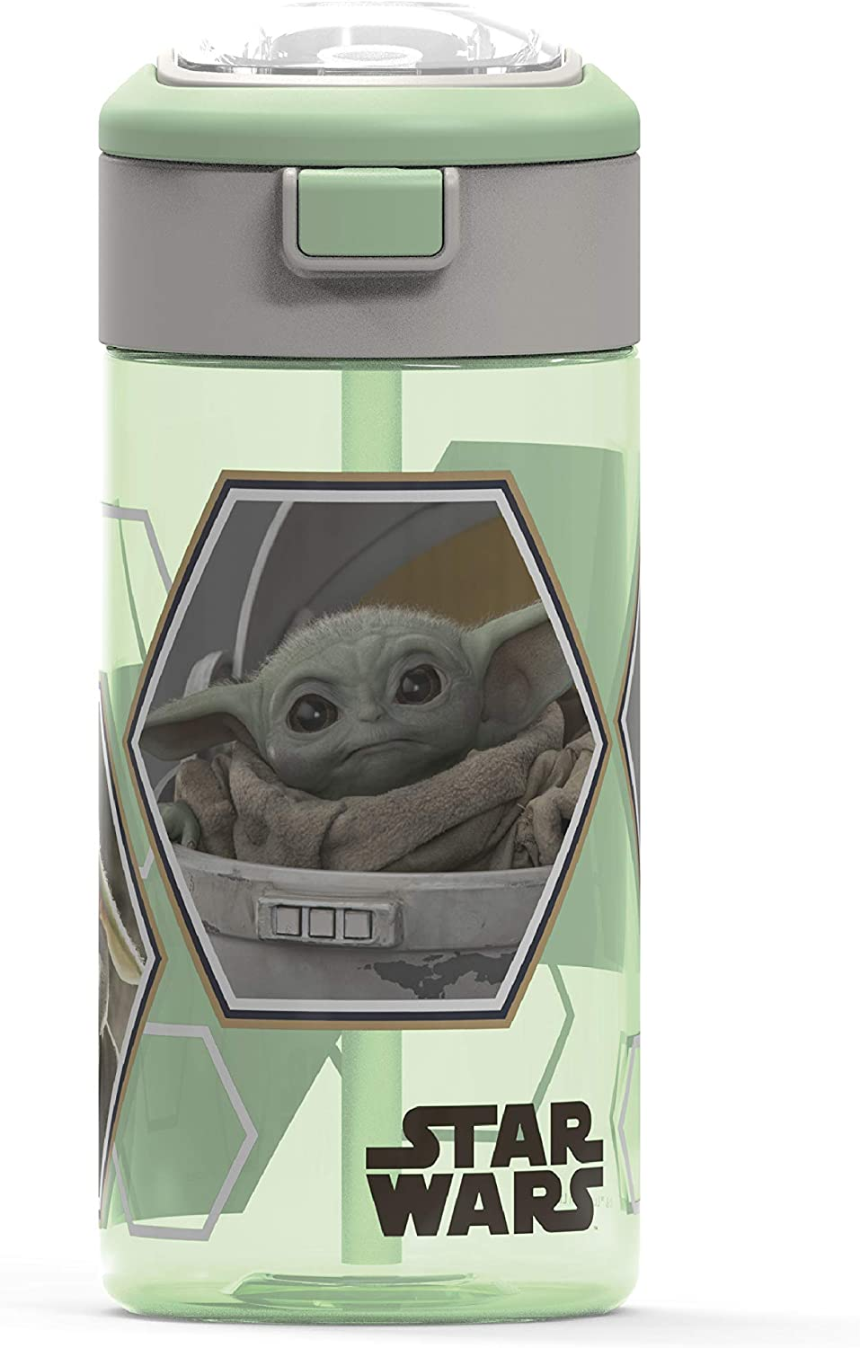Zak Designs Star Wars The Mandalorian Durable Plastic Water Bottle with Interchangeable Lid and Built-In Carry Handle, Non-BPA, Leak-Proof Design is Perfect for Outdoor Sports (The Child, 18oz, 1PC)