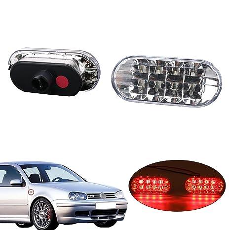 2 pcs lateral indicador Marcador repetidor luces con lente transparente y amarillo luz para VW Golf