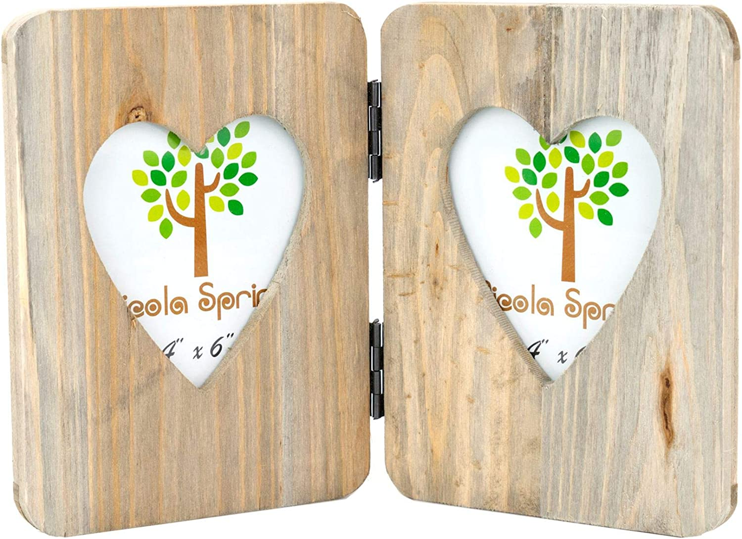Nicola Spring 4 x 6 Wooden Freestanding Folding Multi 2 Photo Picture Frame - Heart Shaped Aperture - Fits 4x6 Photos - Natural