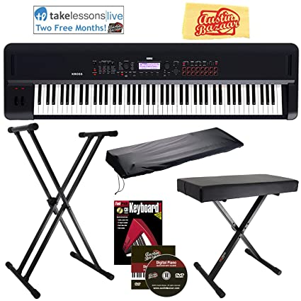 Korg KROSS 2 Synthesizer Workstation Bundle with Adjustable Bench, Stand,  Dust Cover, Instructional Book, Online Lessons, Austin Bazaar Instructional