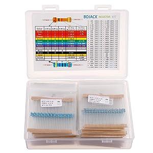 BOJACK 1350 Pcs 50 Values Resistor Kit 0 Ohm-5.6M Ohm with 1% 1/4W Metal Film Resistors Assortment