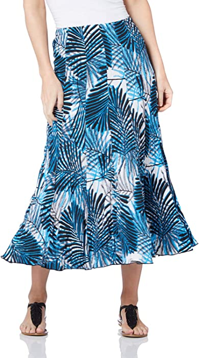 2ce67fb4ef Roman Originals Women Leaf Print Skirt - Ladies Maxi Length Fit and Flare  Holiday Casual Daytime