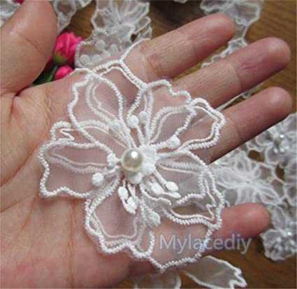 2 Meters Flower Lace Edge Trim Ribbon 4.5 cm Width Vintage Style Off White Edging Trimmings Fabric Embroidered Applique Sewing Craft Wedding Bridal Dress Embellishment DIY Decor Clothes Embroidery