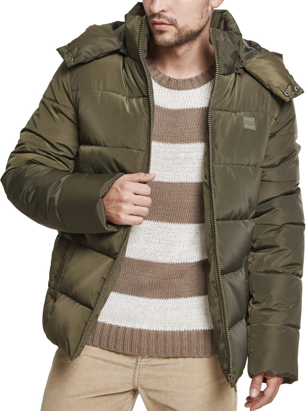 7502ac02e3e558 Urban Classics Herren Daunenjacke Winterjacke Hooded Puffer Jacket ...
