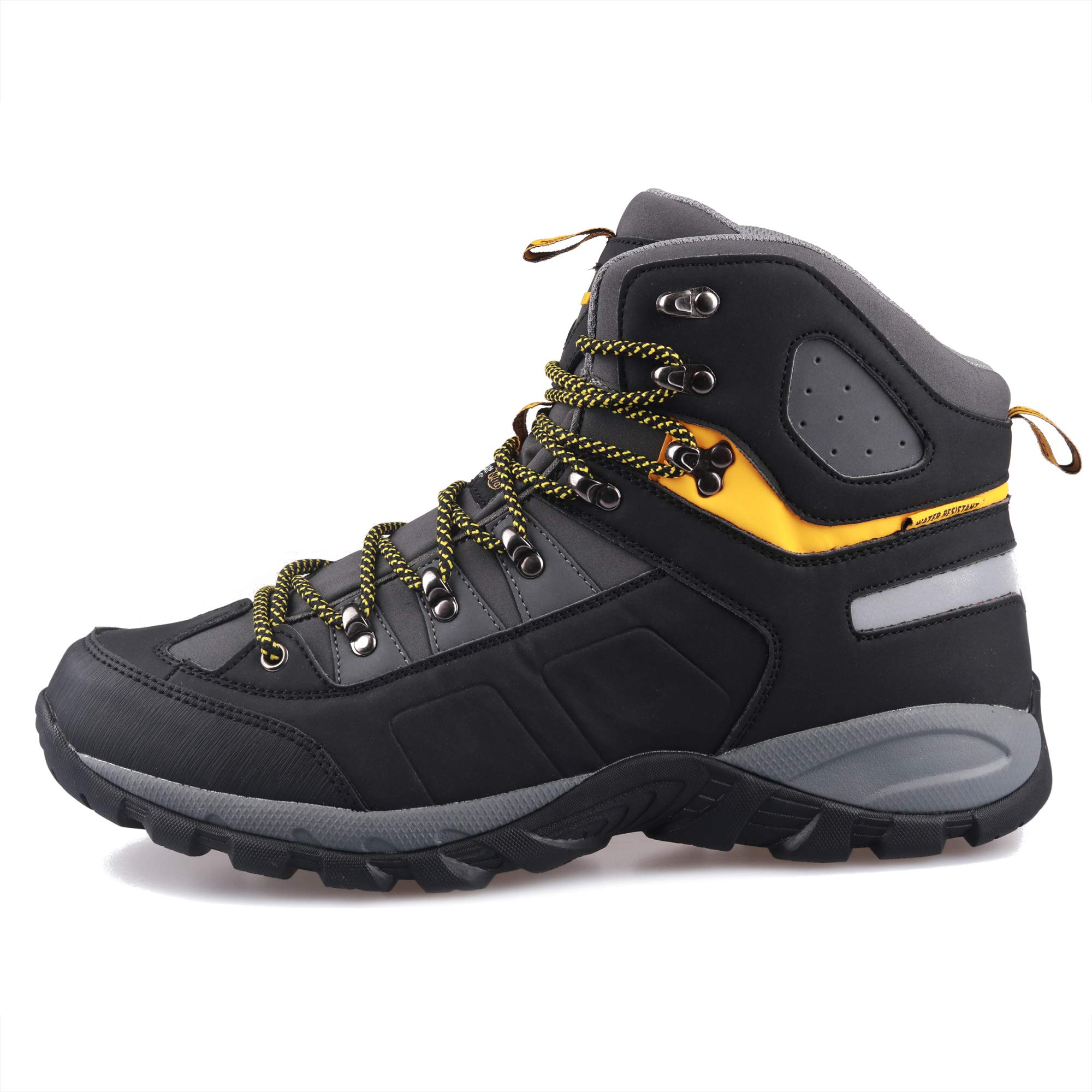 GRITION Men Hiking Boots Waterproof High Top Walking Non Slip Soft Shell Trekking Shoes Black/Yellow by GRITION (Image #2)