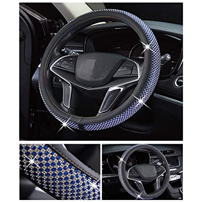 DailyWise VicPlus Bling Bling Diamond Car Steering Wheel Cover Rhinestone Covers Universal Fit 14.5 Inch / 15 Inch (37-38 cm) Car Accessories Interior Shining Decorating New Blue: Automotive