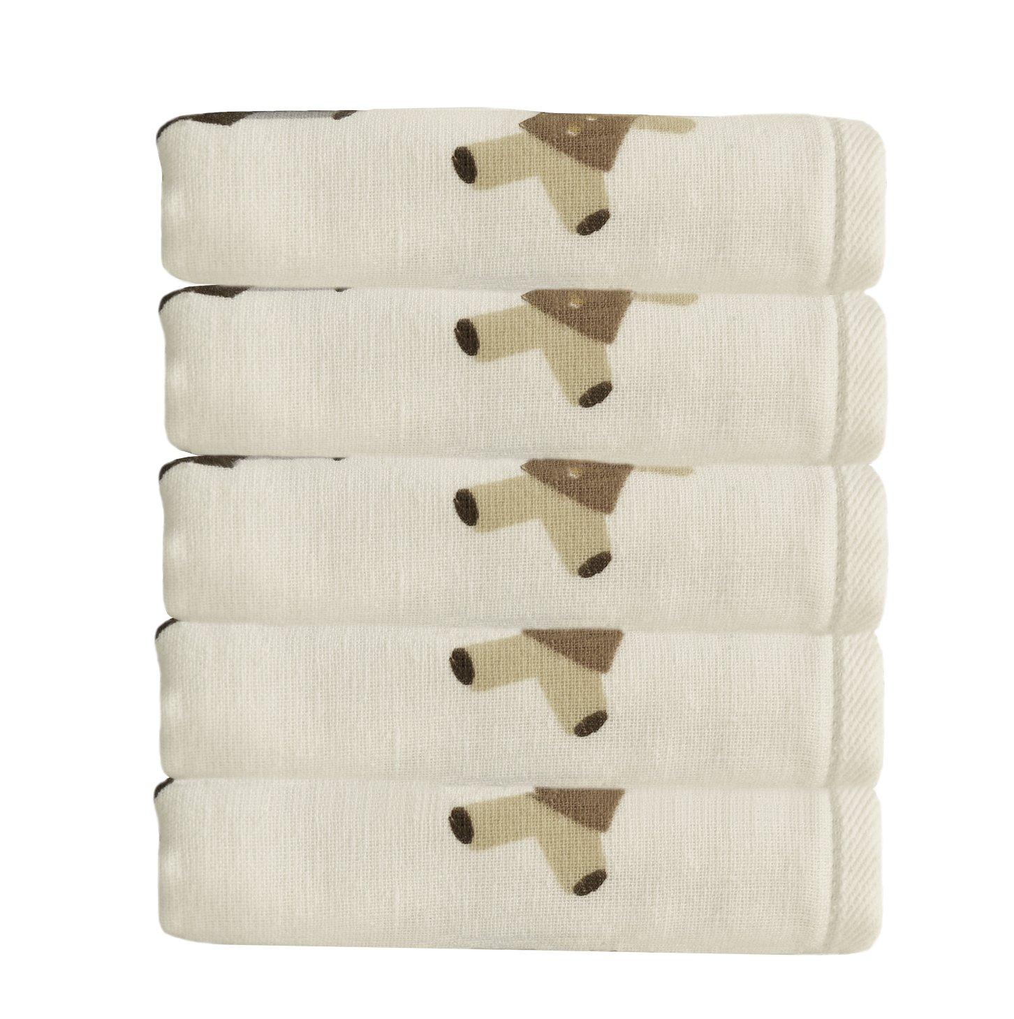 MAGILONA 5 Piece Toddler Children Kids Cartoon Animal 100% Soft Cotton Yarn Double Layer Towels Strong Water Absorption (Bear)