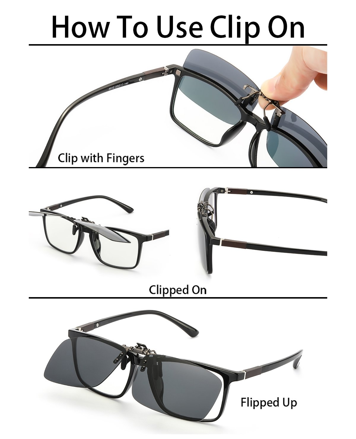 Clip on Sunglasses for Prescription Glasses, Flip up Rimless Anti Glare Night Vision lens for Driving Fishing, 2 PACK (grey polarized lens+yellow night lens, 5941) by ELIVWR (Image #2)