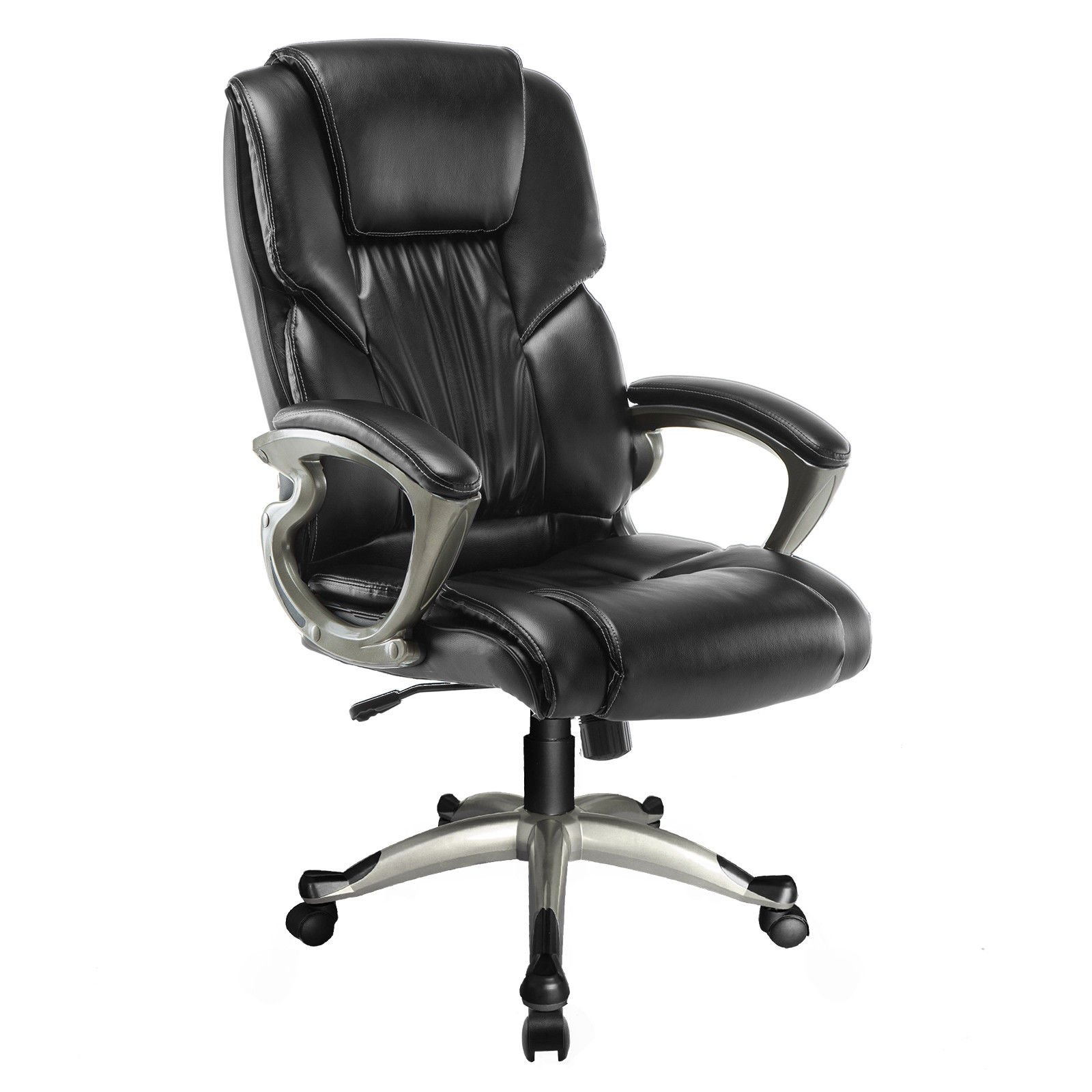 Mecor Ergonomic High Back Leather Office Chair Big and Tall Executive Swivel Chair with Arms Black Home