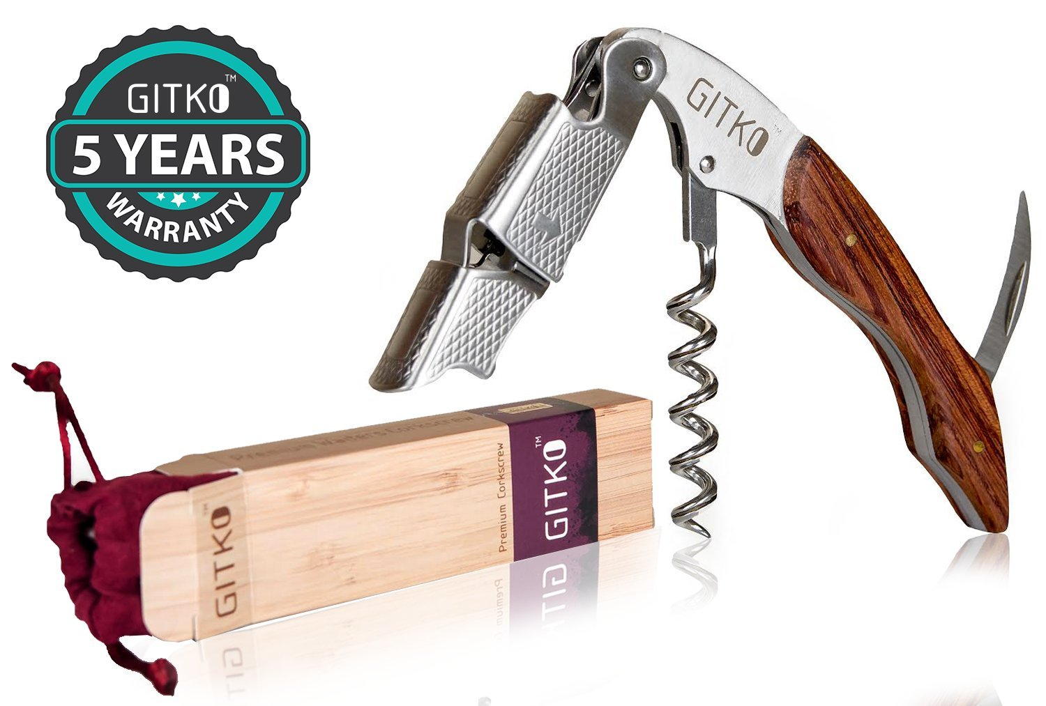 Waiters Corkscrew By Gitko -With a Comfortable Rosewood handle – Wine And Beer Bottle Opener For Bartenders, Waiters, –With A Stainless Steel Wine Key Foil Cutter - With a Nice Pouch Included, 3 Pack