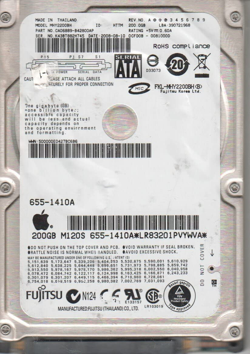 200GB 5400rpm Fujitsu MHY2200BH MHY2200BH SATA 2.5 HD