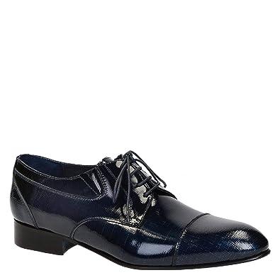 Zapatos de Vestir para Hombre en Piel Patentado Azul ...