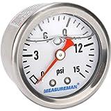 Measureman 1-1/2' Dial Size, Glycerin Filled Fuel Pressure Gauge, 304 Stainless Steel case, 0-15Psi, 3-2-3%, 1/8'NPT…