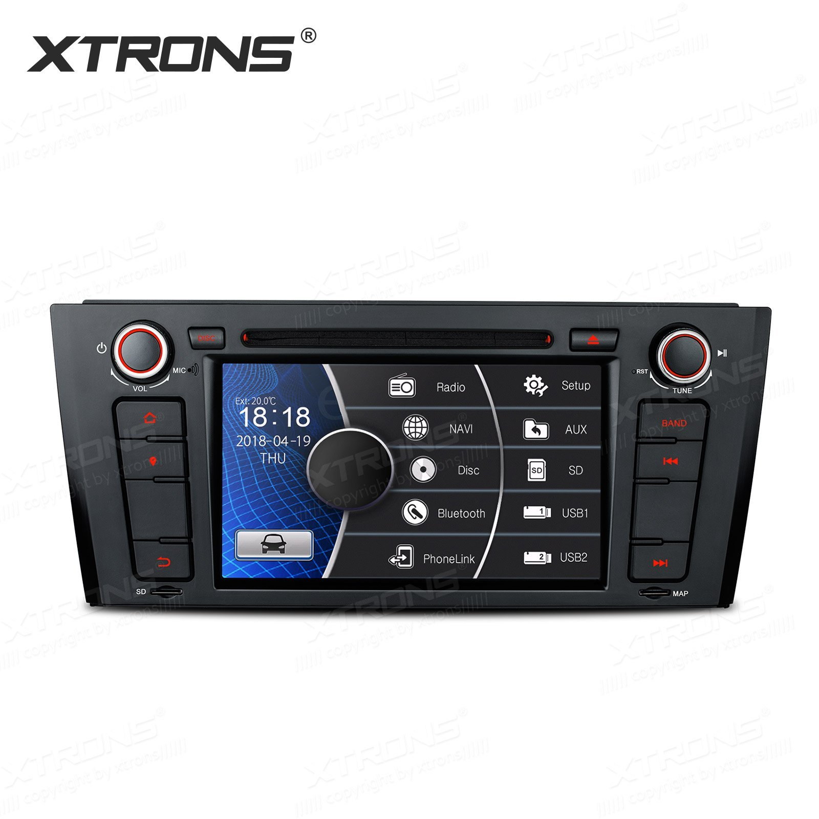 XTRONS 7 Inch HD Digital Touch Screen Car Stereo Radio In-Dash DVD Player with GPS CANbus for BMW 1 Series E81 E82 E88 2007-2014 Map Card Included by XTRONS