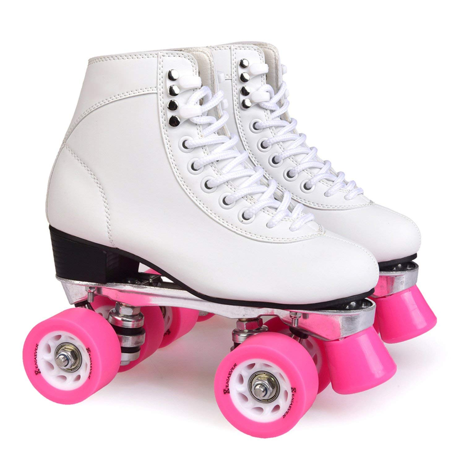 Roller Skate Women's 4 Wheels Skating Style Speed Skate Ride The Street for Outdoor Skate Shoe White and Pink