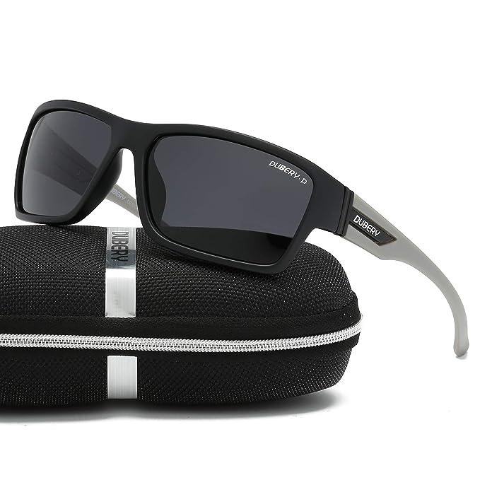 ceeb65701e38 DUBERY Retro anteojos de sol polarizadas para mujer y hombre 100% protección  UV Moda Cuadrado
