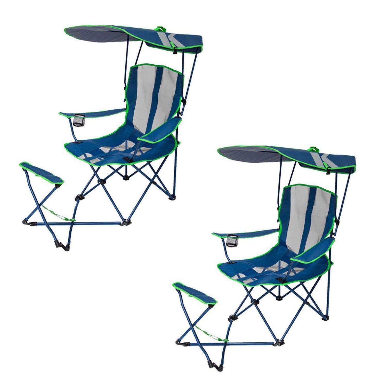 Original Canopy Silla de Camping con otomano, Azul Marino y Verde ...