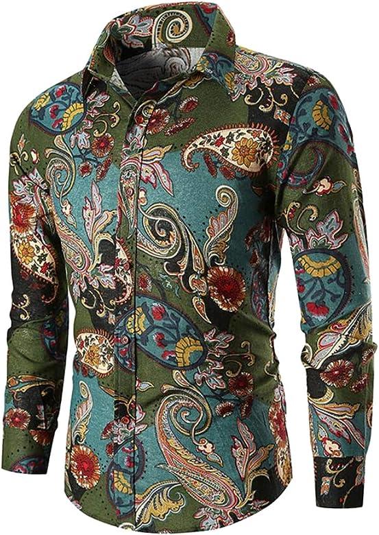Jofemuho Men Long Sleeve Lapel Camo Relaxed Fit Casual Button Down Dress Shirt