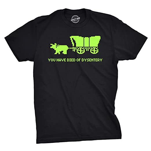 8270248d You Have Died of Dysentery T Shirt Funny Gamer Shirts Video Games Nerdy  (Black)